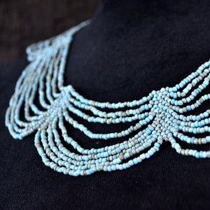 NEW Aqua Balinese Beaded Collar necklace SET